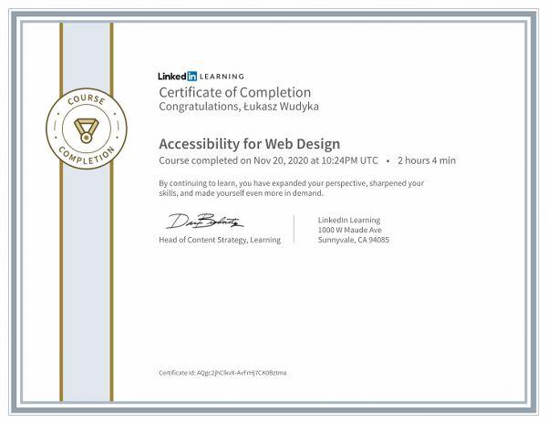 Wudyka Łukasz certyfikat LinkedIn - Accessibility for Web Design.