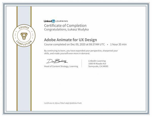 Wudyka Łukasz certyfikat LinkedIn - Adobe Animate for UX Design.