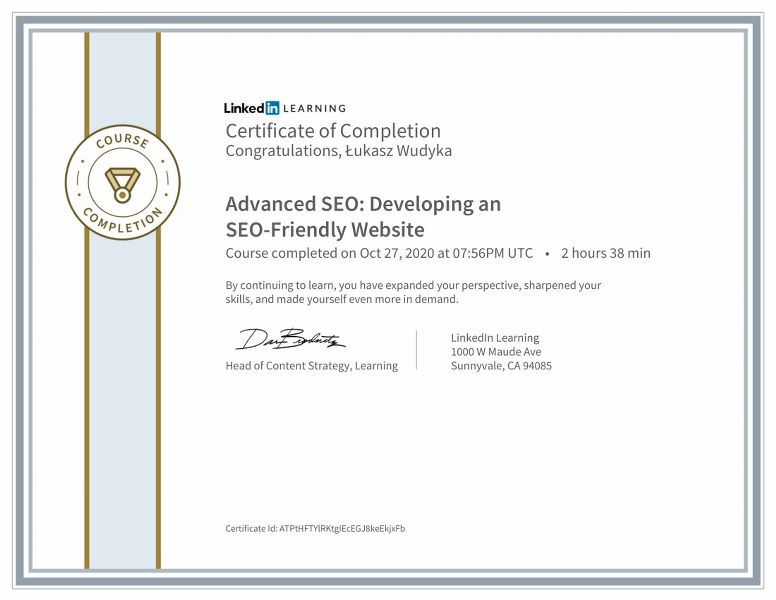 "Wudyka Łukasz certyfikat Linkedin – ""Advanced SEO: Developing an SEO-Friendly Website""."