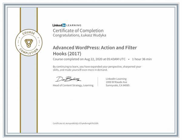 Wudyka Łukasz certyfikat LinkedIn - Advanced WordPress Action and Filter Hooks.