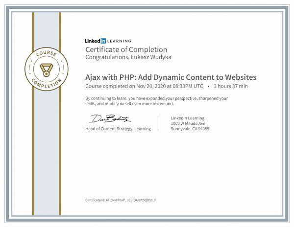 Wudyka Łukasz certyfikat LinkedIn - Ajax with PHP Add Dynamic Content to Websites.