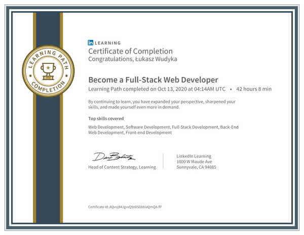 Wudyka Łukasz certyfikat LinkedIn - Become a FullStack Web Developer.