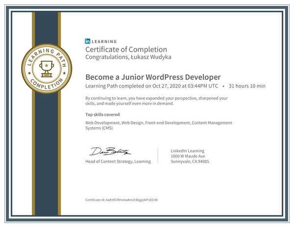 Wudyka Łukasz certyfikat LinkedIn - Become a Junior WordPress Developer.