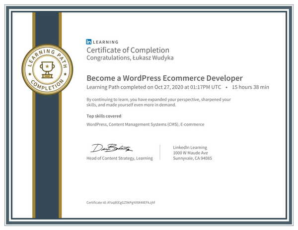 Wudyka Łukasz certyfikat LinkedIn - Become a WordPress Ecommerce Developer.