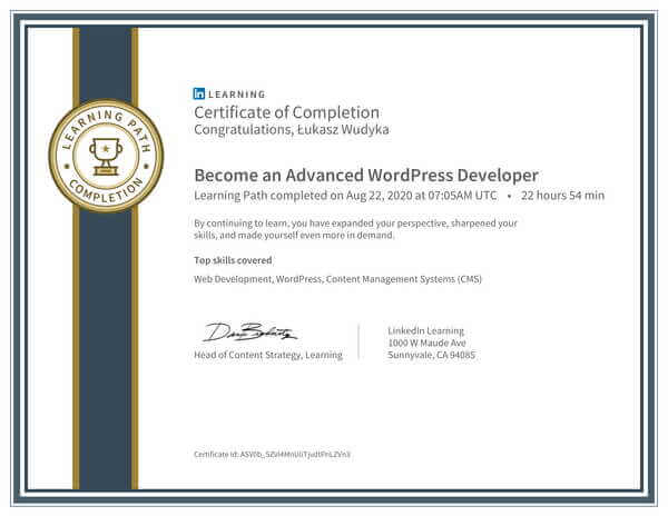 Wudyka Łukasz certyfikat LinkedIn - Become an Advanced WordPress Developer.