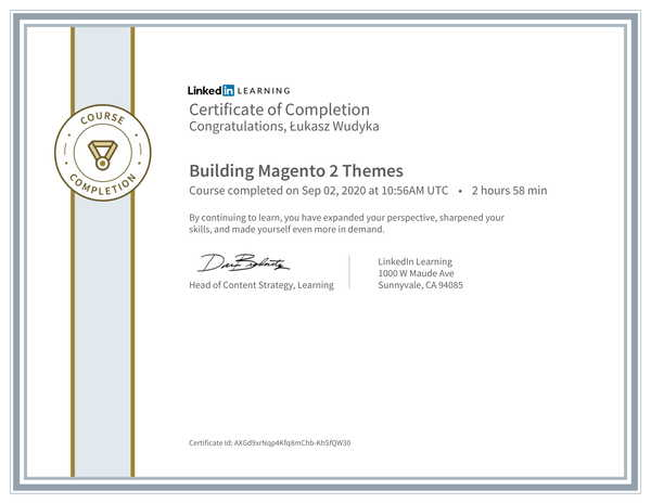 Wudyka Łukasz certyfikat LinkedIn - Building Magento 2 Themes.