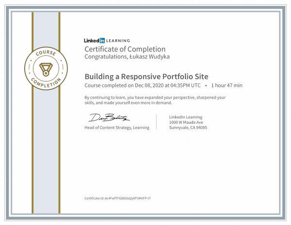Wudyka Łukasz certyfikat LinkedIn - Building a Responsive Portfolio Site.