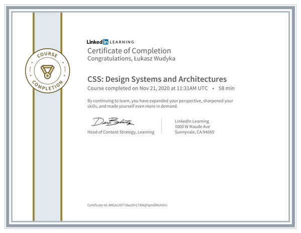 Wudyka Łukasz certyfikat LinkedIn - CSS Design Systems and Architectures.