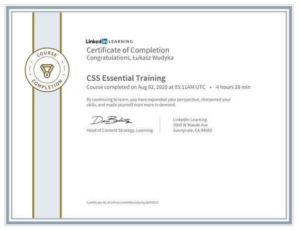 Wudyka Łukasz certyfikat LinkedIn - CSS Essential Training.