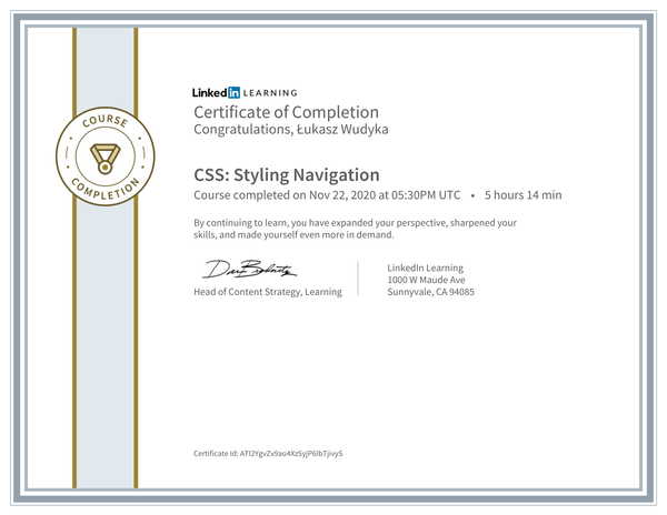Wudyka Łukasz certyfikat LinkedIn - CSS Styling Navigation.