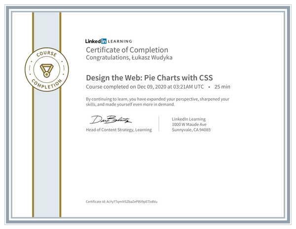 Wudyka Łukasz certyfikat LinkedIn - Design the Web Pie Charts with CSS.