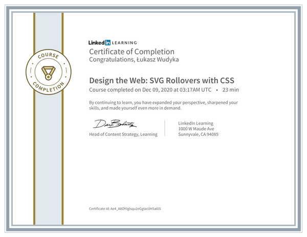 Wudyka Łukasz certyfikat LinkedIn - Design the Web SVG Rollovers with CSS.