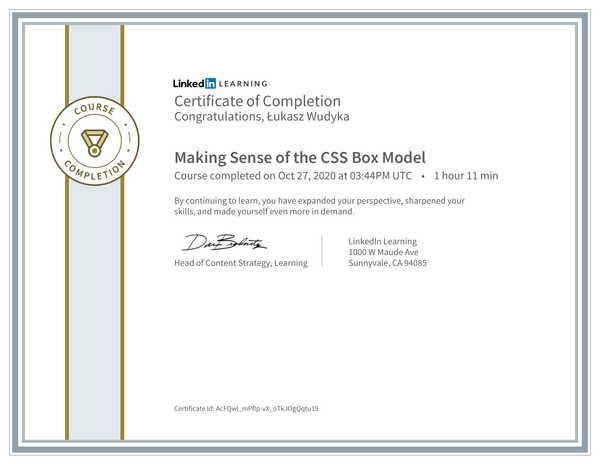 Wudyka Łukasz certyfikat LinkedIn - Making Sense of the CSS Box Model.