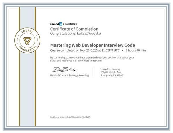 Wudyka Łukasz certyfikat LinkedIn - Mastering Web Developer Interview Code.