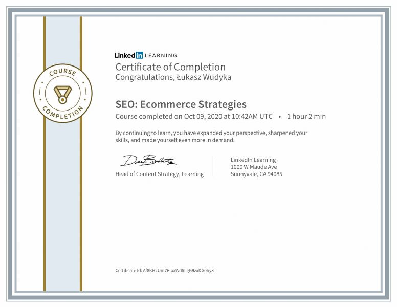 "Wudyka Łukasz certyfikat Linkedin–""SEO: Ecommerce Strategies""."