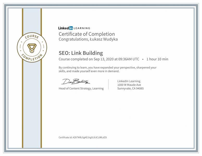 """Wudyka Łukasz certyfikat Linkedin – """"SEO: Link Building""""."""