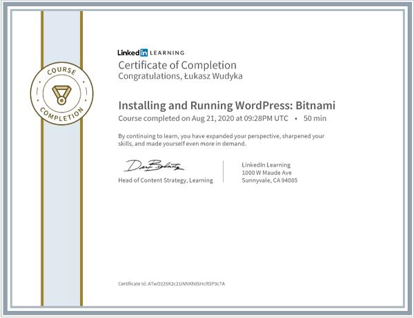 Wudyka Łukasz certyfikat LinkedIn - Installing and Running WordPress Bitnami.