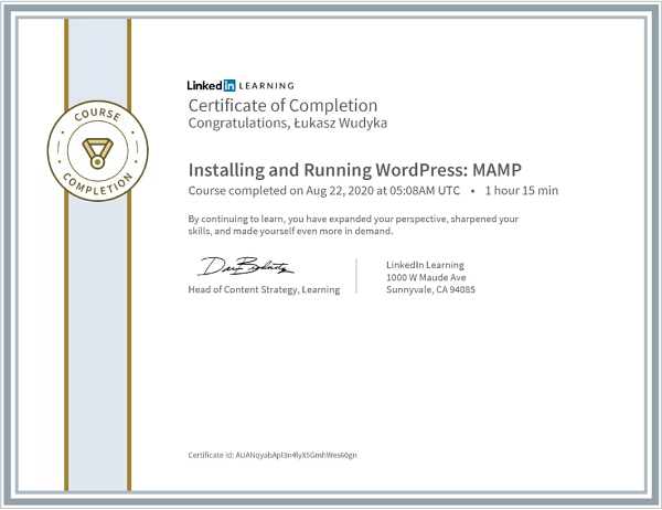 Wudyka Łukasz certyfikat LinkedIn - Installing and Running WordPress: MAMP.