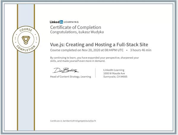 Wudyka Łukasz certyfikat LinkedIn - Vue.js Creating and Hosting a Full Stack Site.