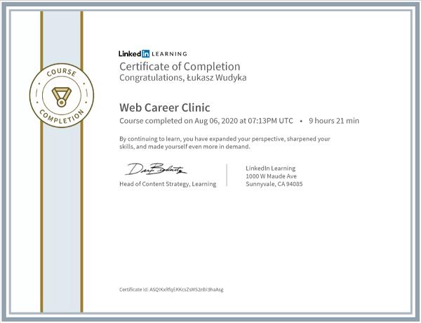 Wudyka Łukasz certyfikat LinkedIn - Web Career Clinic.