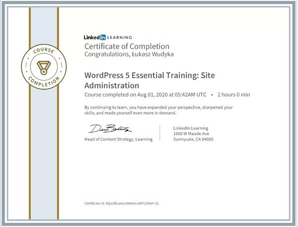 Wudyka Łukasz certyfikat LinkedIn - WordPress 5 Essential Training Site Administration.