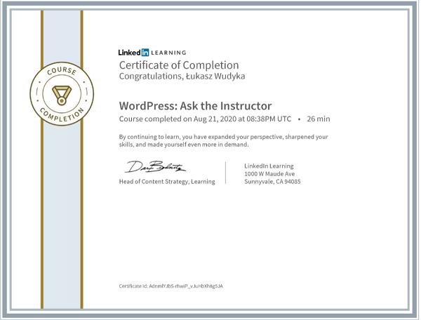Wudyka Łukasz certyfikat LinkedIn - WordPress Ask the Instructor.