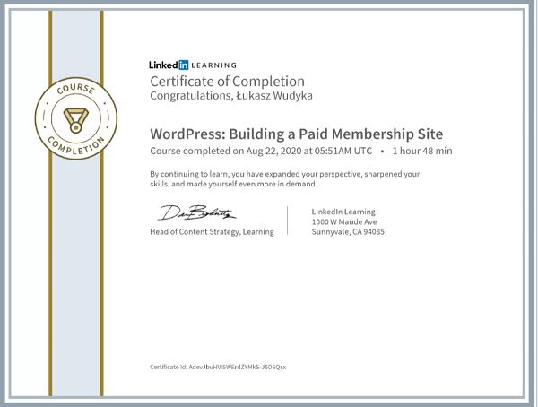 Wudyka Łukasz certyfikat LinkedIn - WordPress Building a Paid Membership Site.