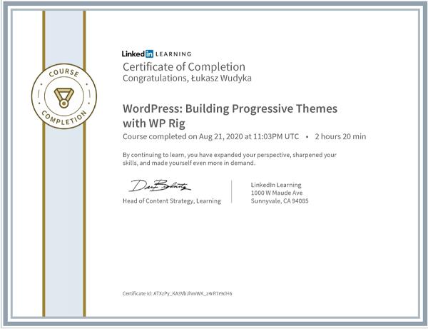 Wudyka Łukasz certyfikat LinkedIn - WordPress Building Progressive Themes with WP Rig.
