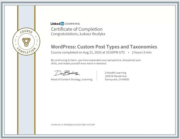 Wudyka Łukasz certyfikat LinkedIn - WordPress Custom Post Types and Taxonomies.