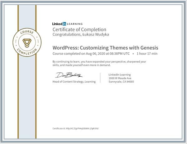 Wudyka Łukasz certyfikat LinkedIn - WordPress Customizinh Themes with Genesis.