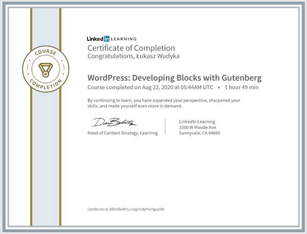 Wudyka Łukasz certyfikat LinkedIn - WordPress Developing Blocks with Gutenberg.