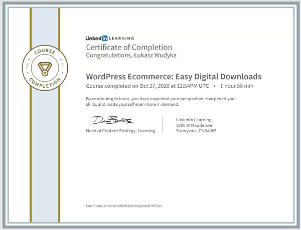 Wudyka Łukasz certyfikat LinkedIn - WordPress Ecommerce Easy Digital Downloads.