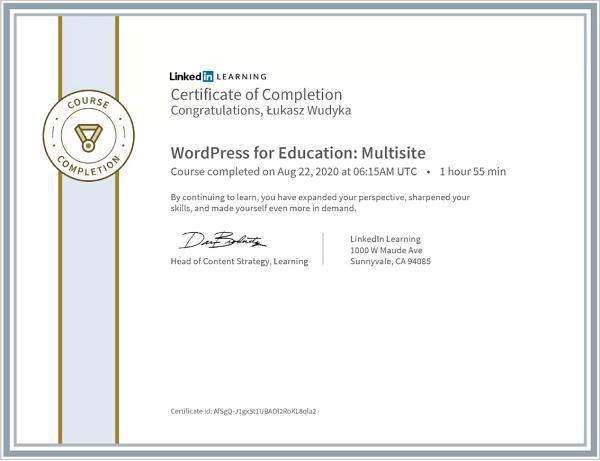 Wudyka Łukasz certyfikat LinkedIn - WordPress for Education Multisite.