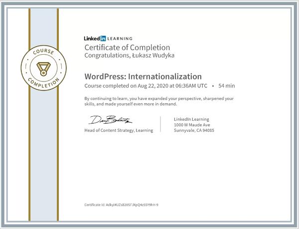 Wudyka Łukasz certyfikat LinkedIn - WordPress Internationalization.