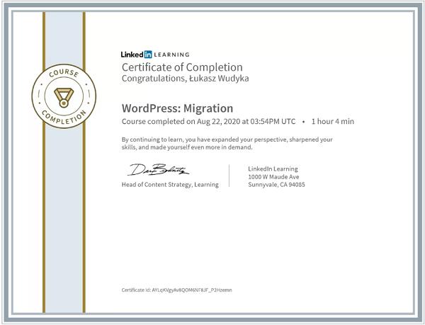 Wudyka Łukasz certyfikat LinkedIn - WordPress Migration.