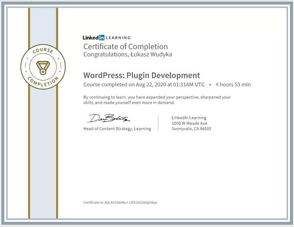 Wudyka Łukasz certyfikat LinkedIn - WordPress Plugin Development.