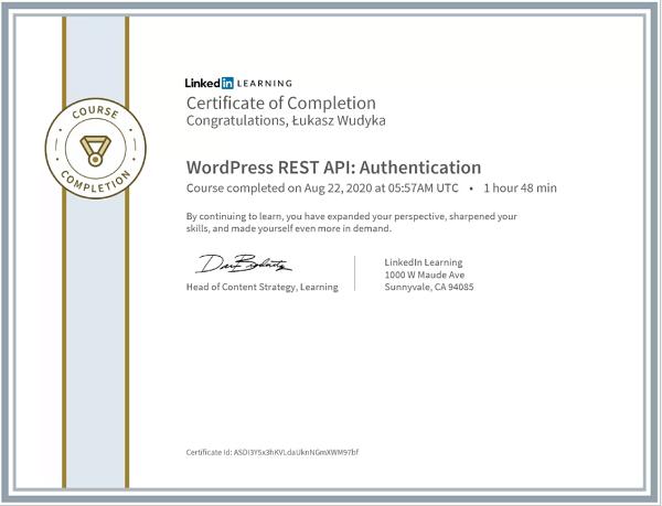 Wudyka Łukasz certyfikat LinkedIn - Worpress Rest API Authentication.