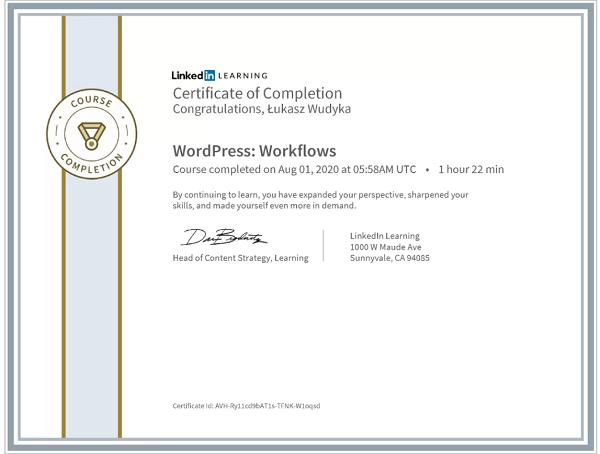 Wudyka Łukasz certyfikat LinkedIn - WordPress Workflows.